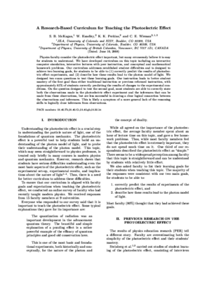 A Research-Based Curriculum for Teaching the Photoelectric Effect
