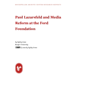 Paul Lazarsfeld and Media Reform at the Ford Foundation