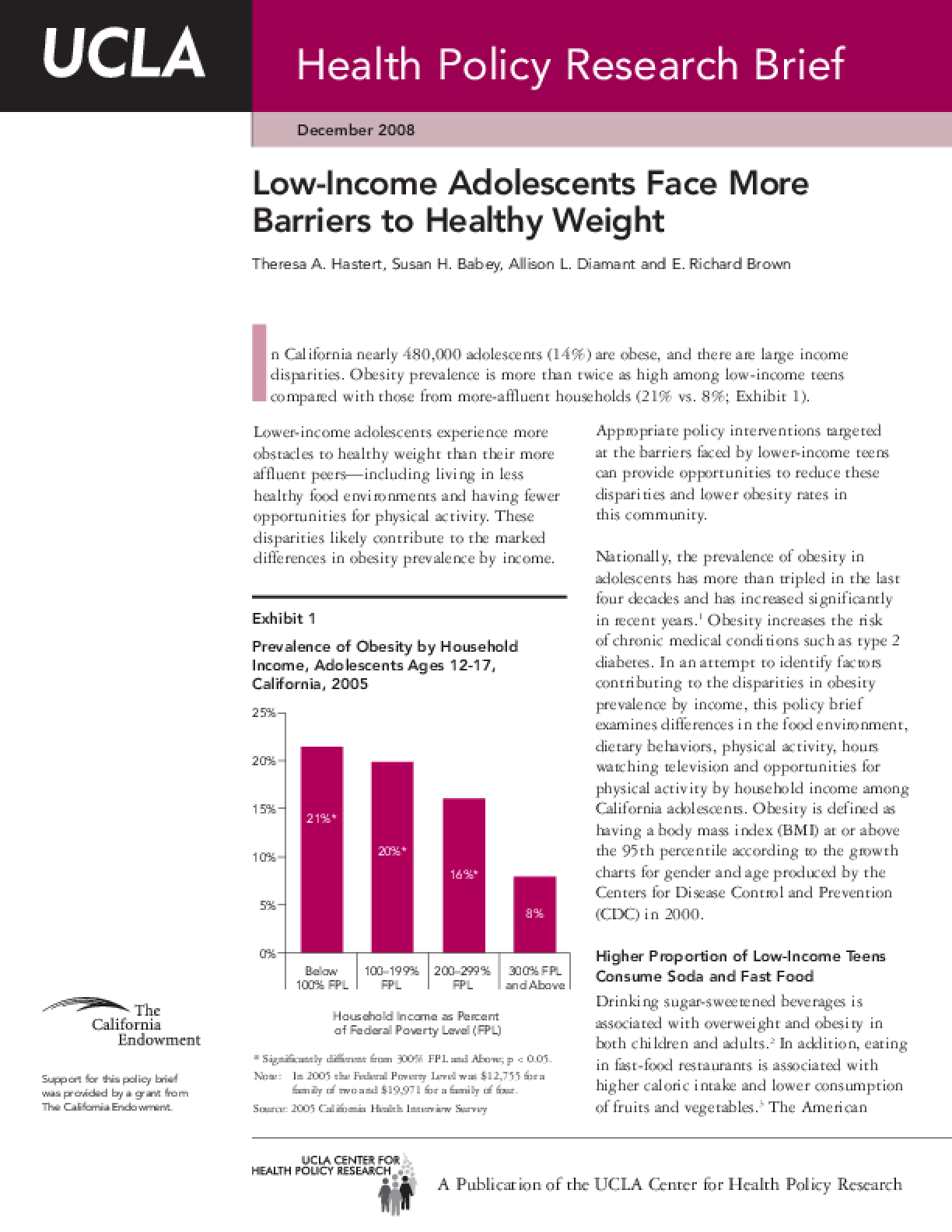 Low-Income Adolescents Face More Barriers to Healthy Weight