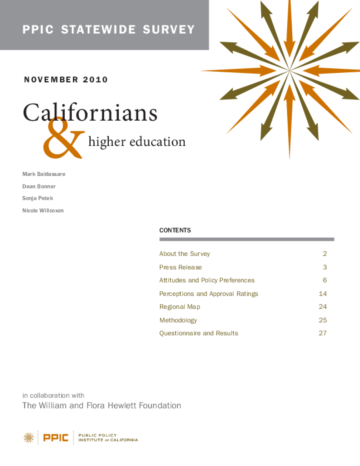 PPIC Statewide Survey: Californians and Higher Education 2010