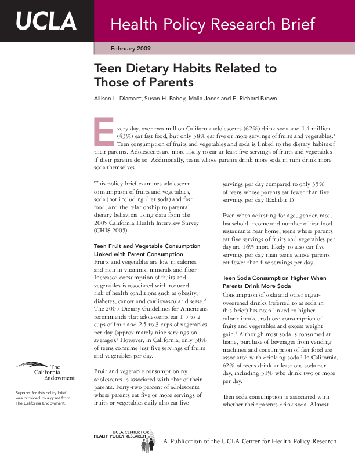 Teen Dietary Habits Related to Those of Parents