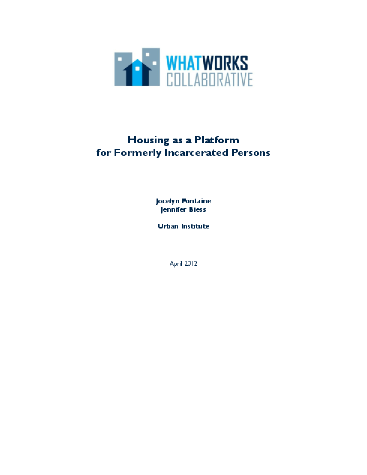 Housing as a Platform for Formerly Incarcerated Persons