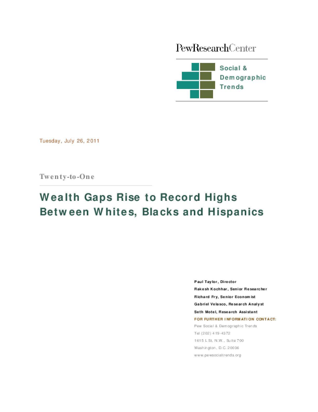 Wealth Gaps Rise to Record Highs Between Whites, Blacks and Hispanics
