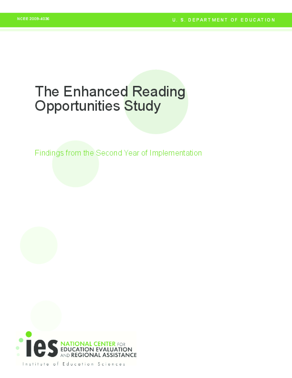 The Enhanced Reading Opportunities Study: Findings from the Second Year of Implementation