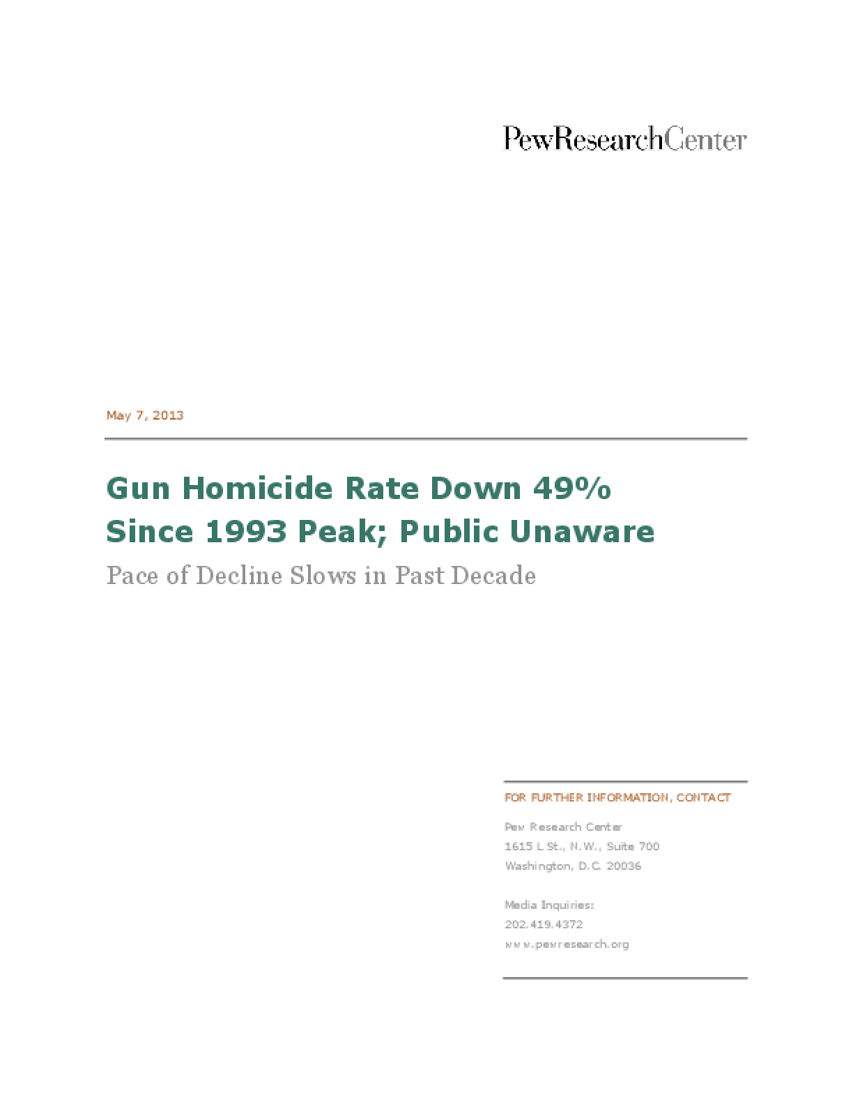 Gun Homicide Rate Down 49% Since 1993 Peak - Public Unaware