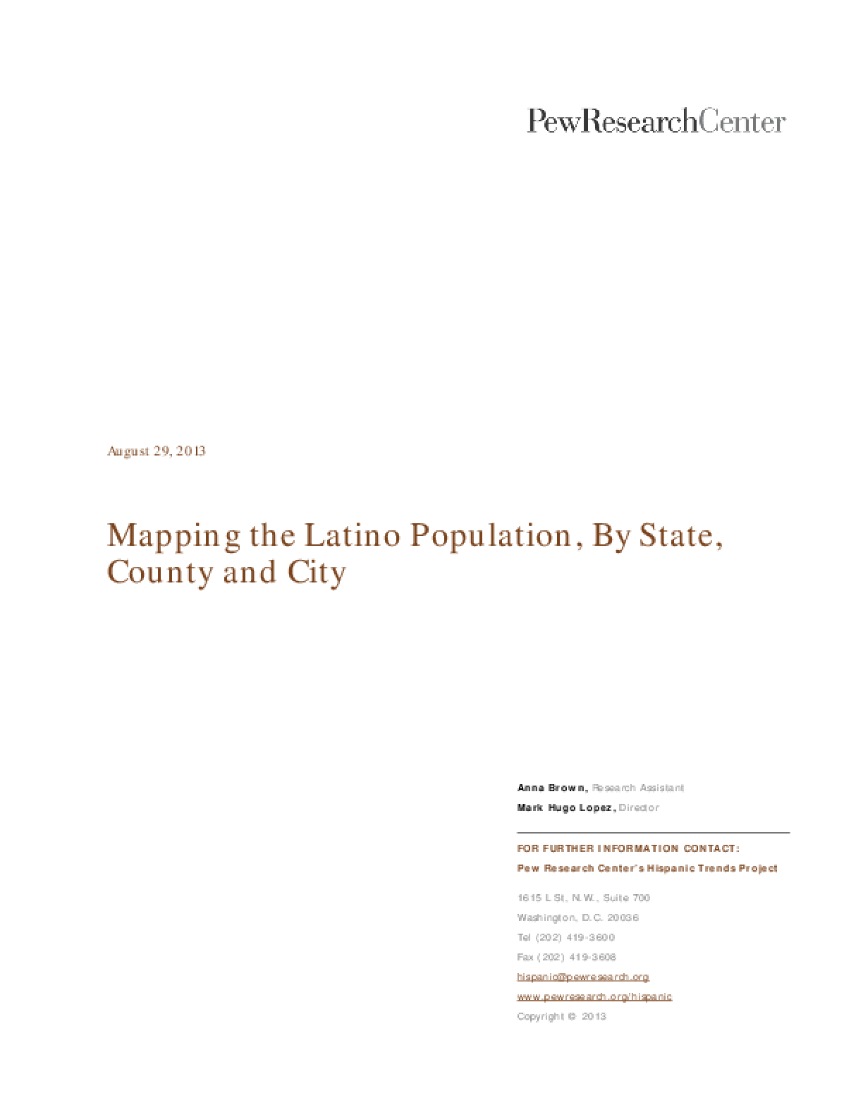 Mapping the Latino Population, By State, County and City