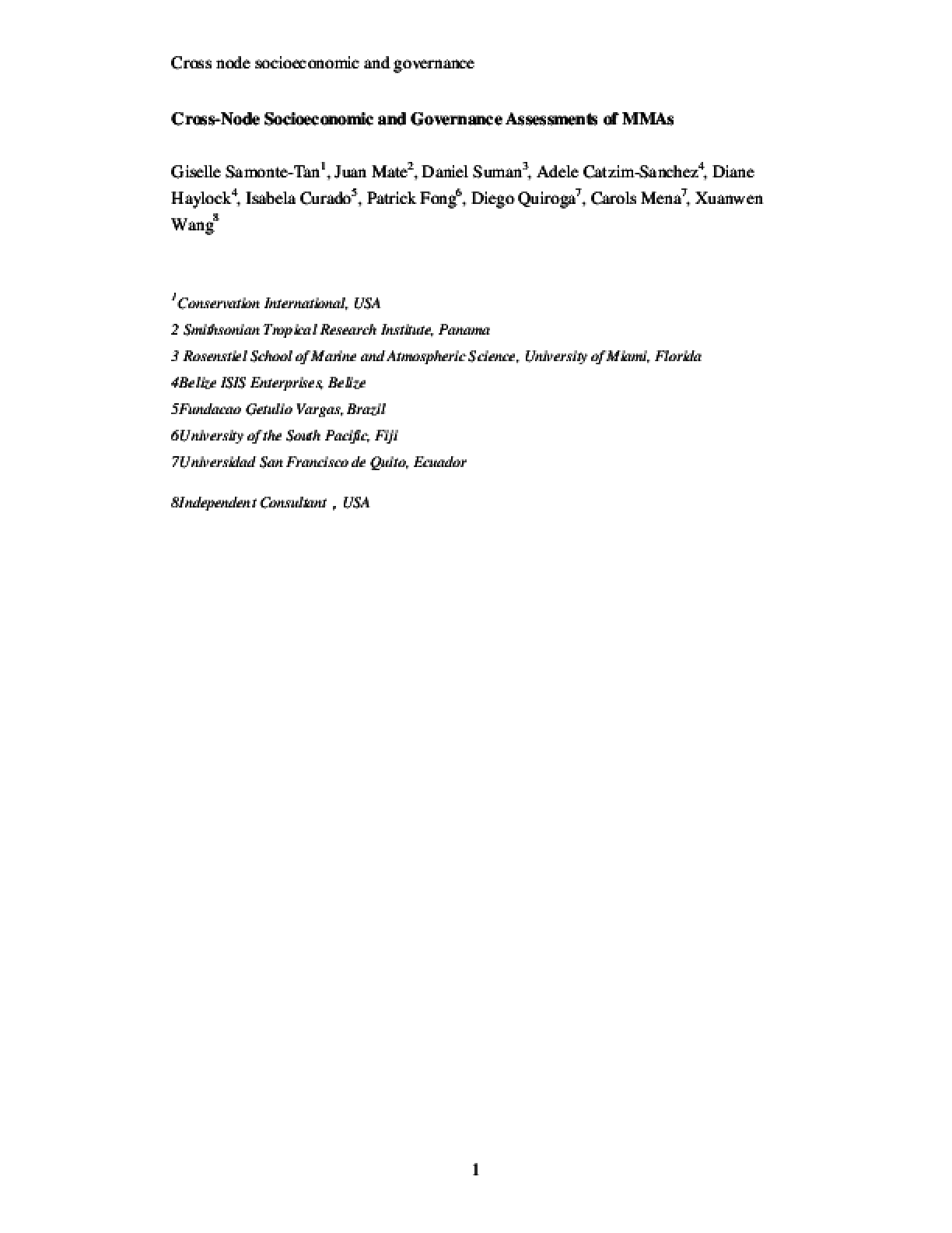 Cross-node Socioeconomic and Governance Assessments of MMAs