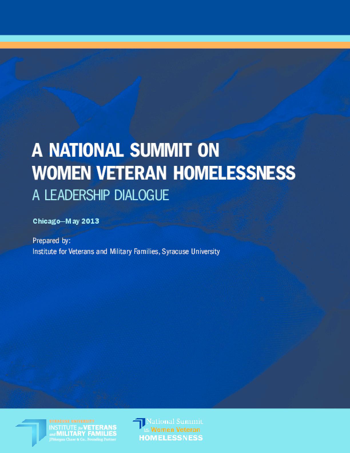 A National Summit on Women Veteran Homelessness: A Leadership Dialogue