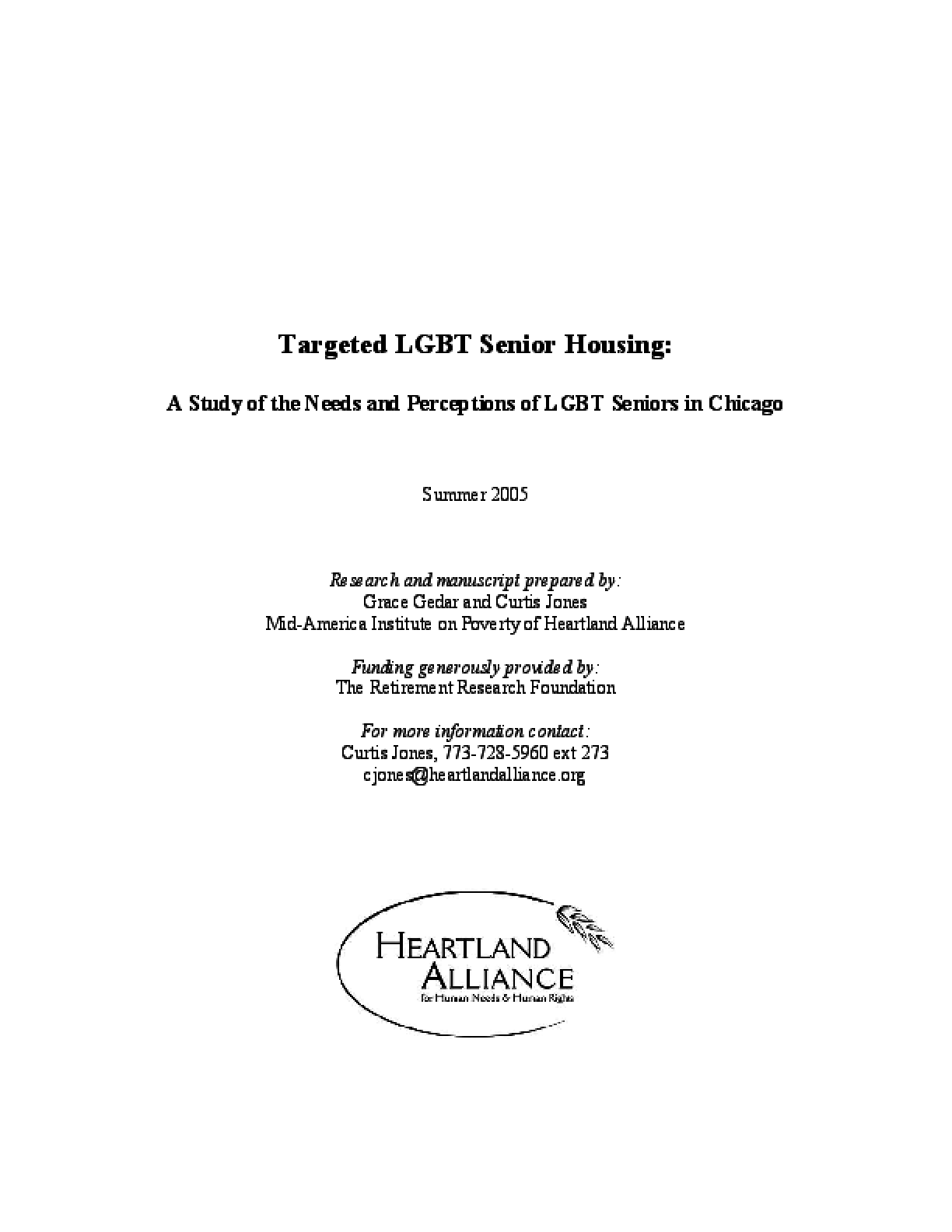 Targeted LGBT Senior Housing: A Study of the Needs and Perceptions of LGBT Seniors in Chicago