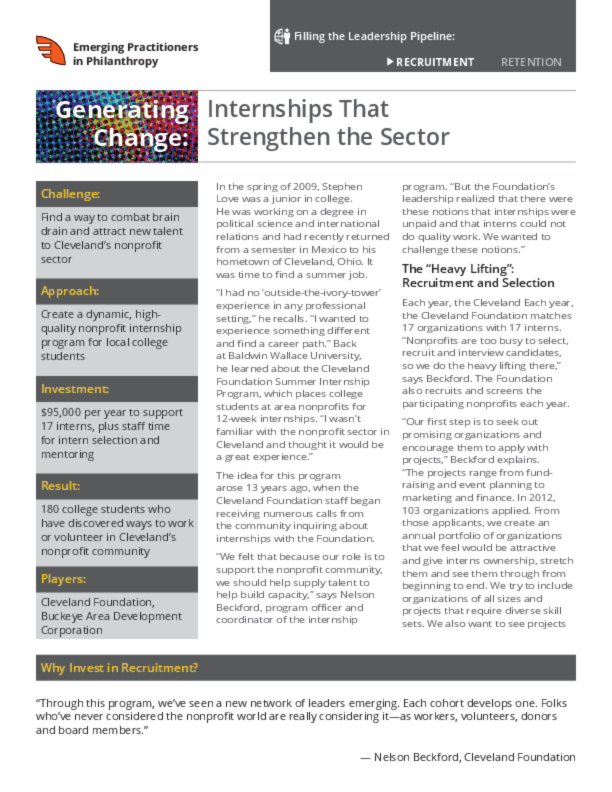 Generating Change: Internships that Strengthen the Sector