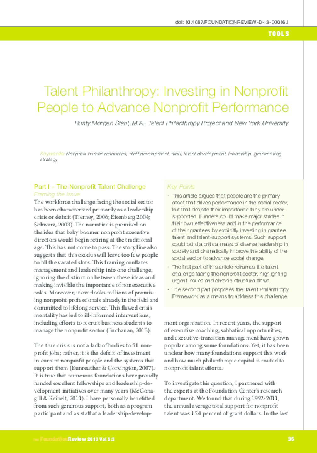 Talent Philanthropy: Investing in Nonprofit People to Advance Nonprofit Performance