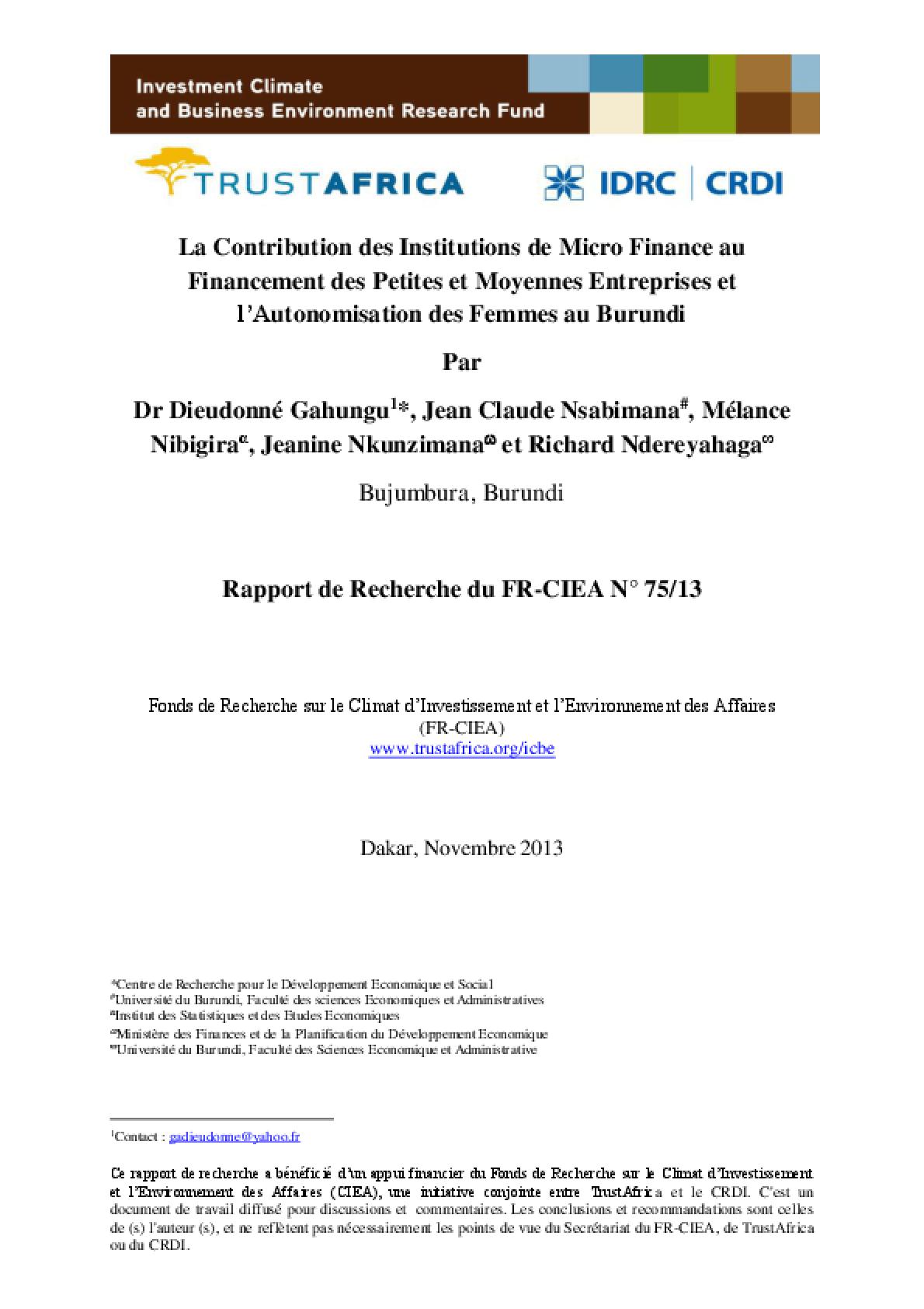 La Contribution des Institutions de Micro Finance au Financement des Petites et Moyennes Entreprises et l'Autonomisation des Femmes au Burundi