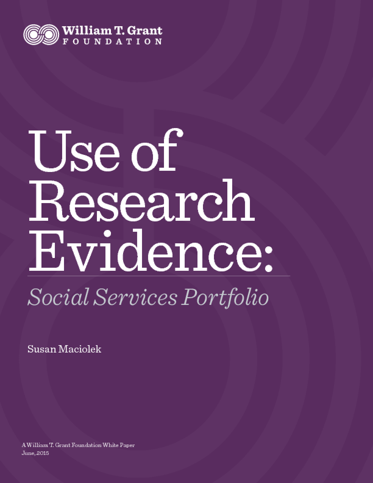 Use of Research Evidence: Social Services Portfolio