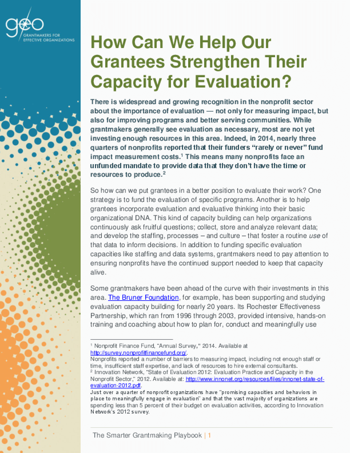 How Can We Help Our Grantees Strengthen Their Capacity for Evaluation?