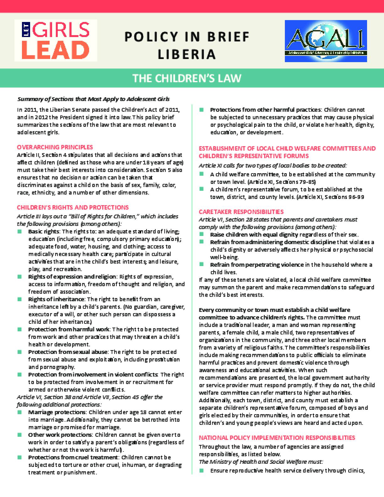 Liberia Children's Law