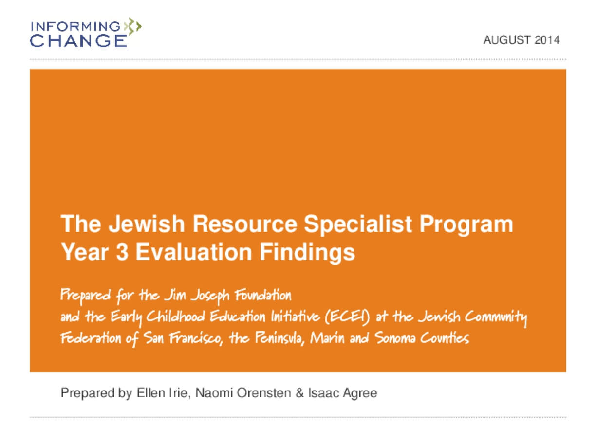 The Jewish Resource Specialist Program Year 3 Evaluation Findings
