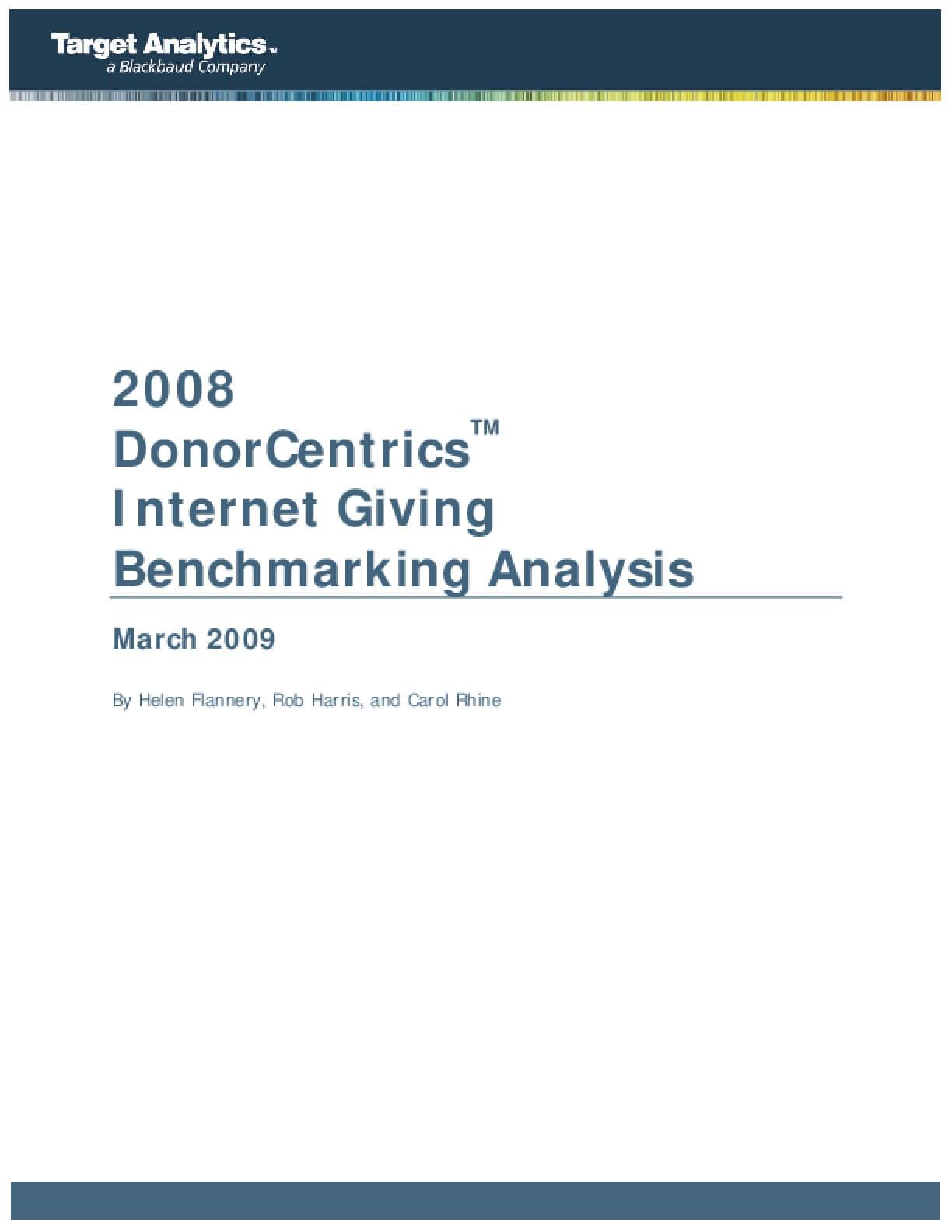 2008 DonorCentrics Internet Giving Benchmarking Analysis