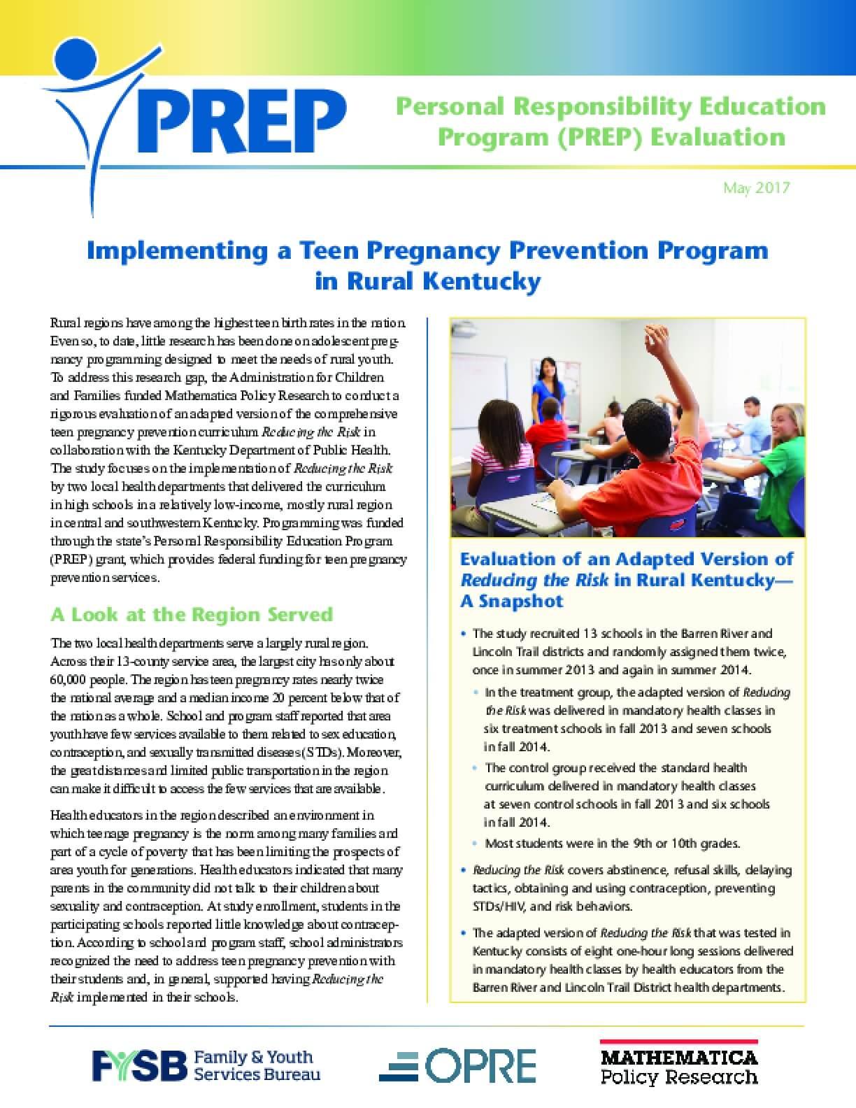 Implementing a Teen Pregnancy Prevention Program in Rural Kentucky