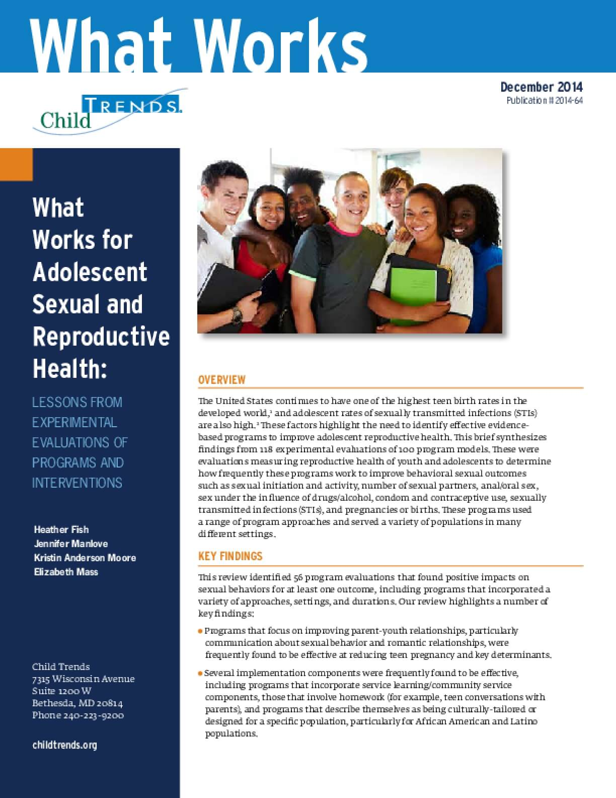 What Works for Adolescent Sexual and Reproductive Health: Lessons from Experimental Evaluations of Programs and Interventions