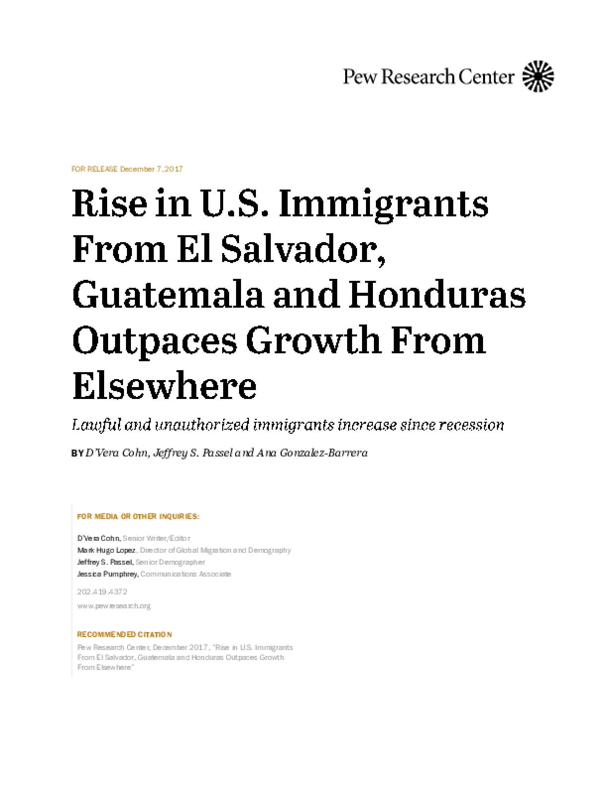 Rise in U.S. Immigrants From El Salvador, Guatemala and Honduras Outpaces Growth From Elsewhere