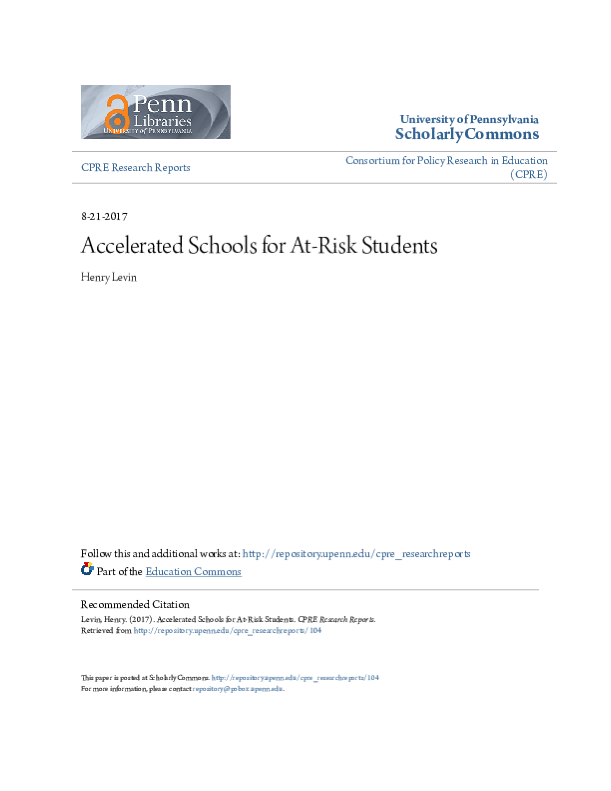Accelerated Schools for At-Risk Students