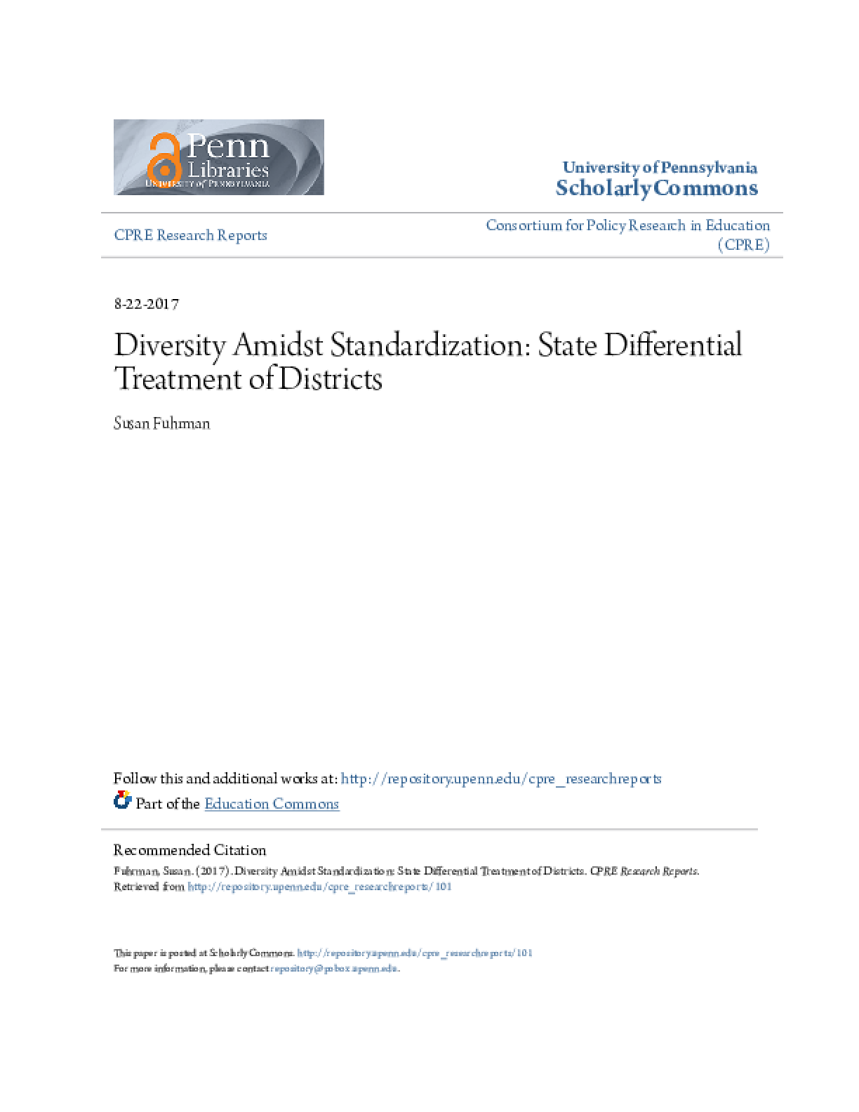 Diversity Amidst Standardization: State Differential Treatment of Districts