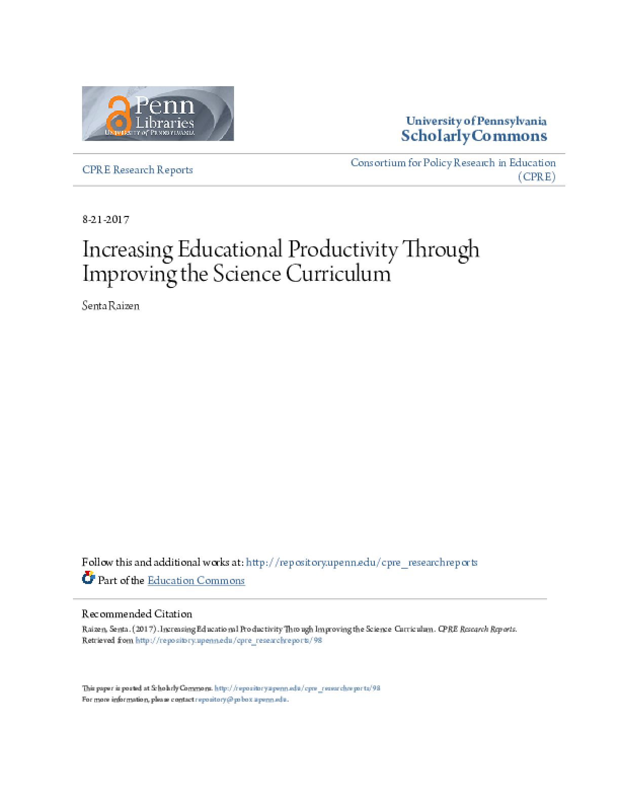 Increasing Educational Productivity Through Improving the Science Curriculum