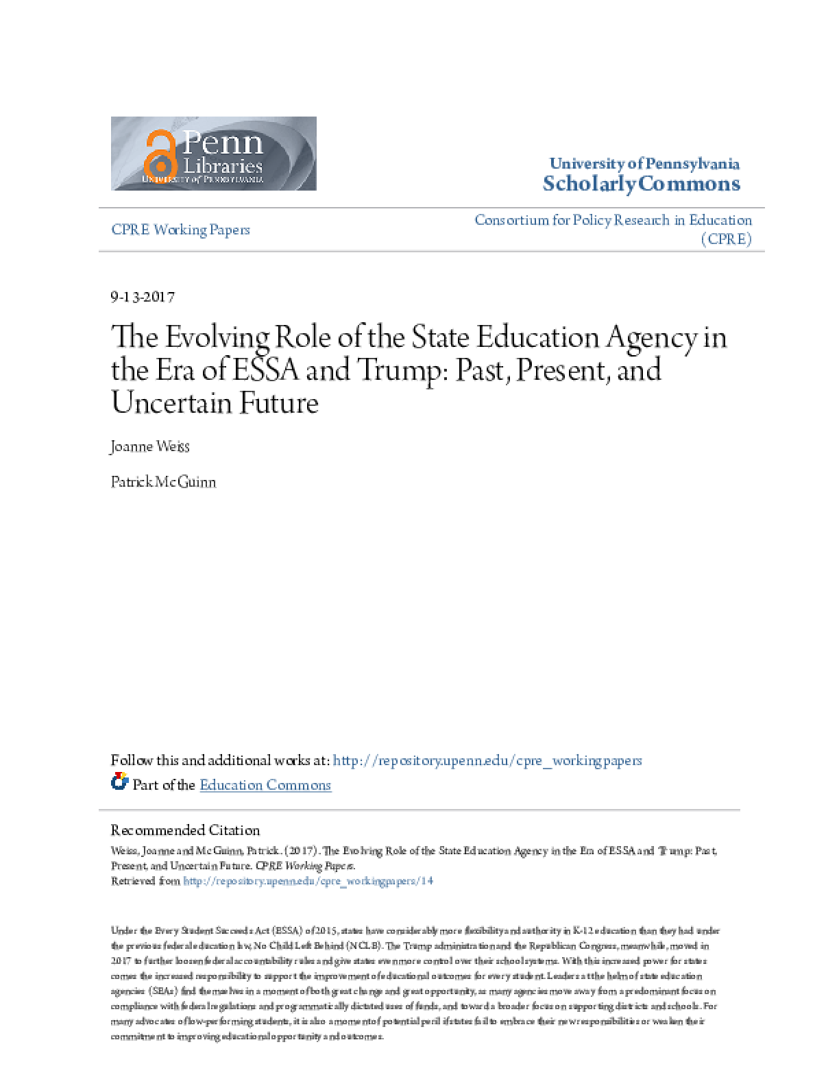 The Evolving Role of the State Education Agency in the Era of ESSA and Trump: Past, Present, and Uncertain Future