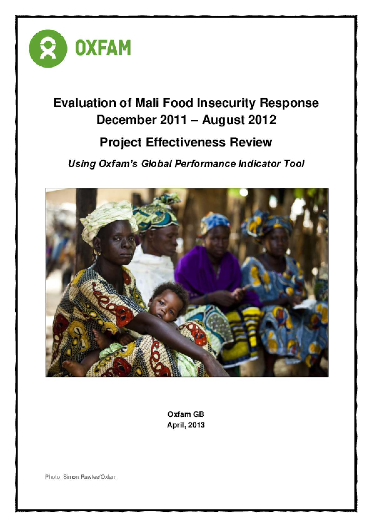 Effectiveness Reviews: Evaluation of Mali Food Insecurity Response