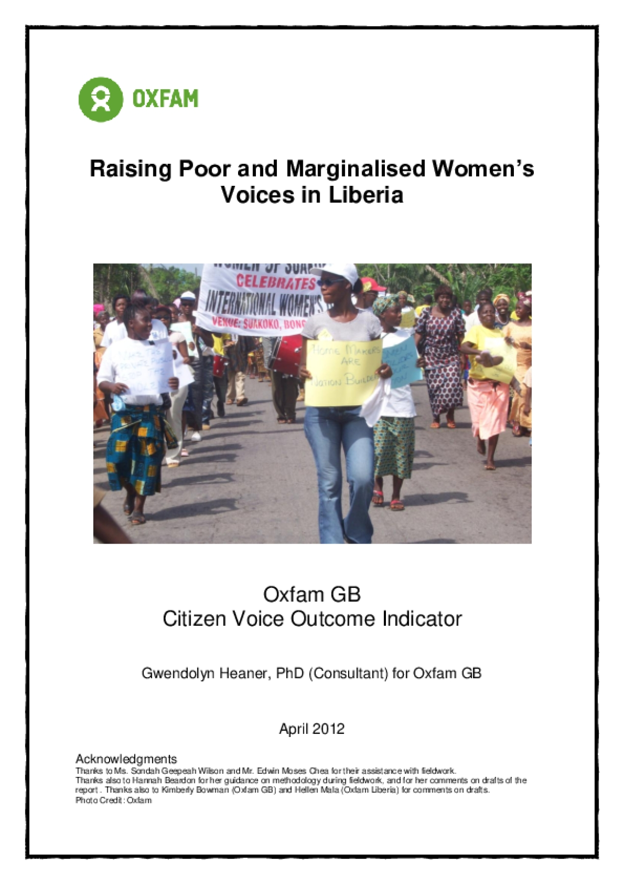 Effectiveness Review: Raising Poor and Marginalised Women's Voices in Liberia