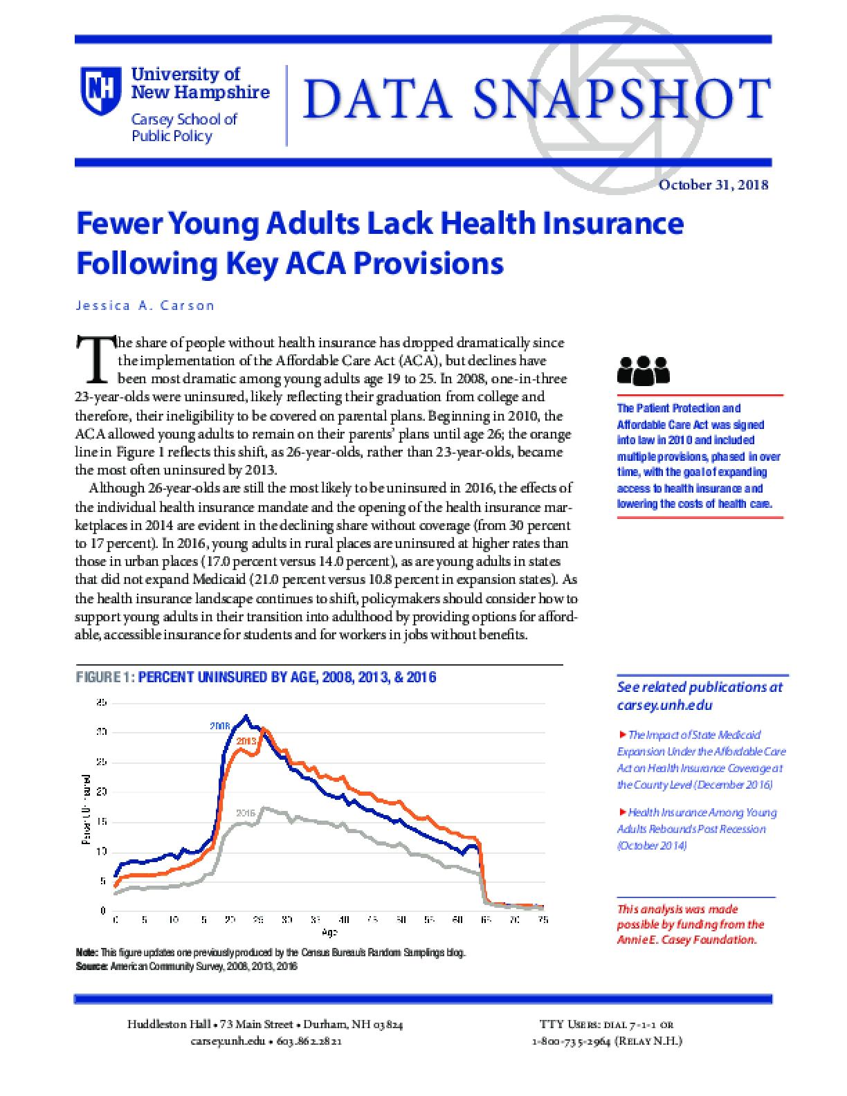 Data Snapshot: Fewer Young Adults Lack Health Insurance Following Key ACA Provisions
