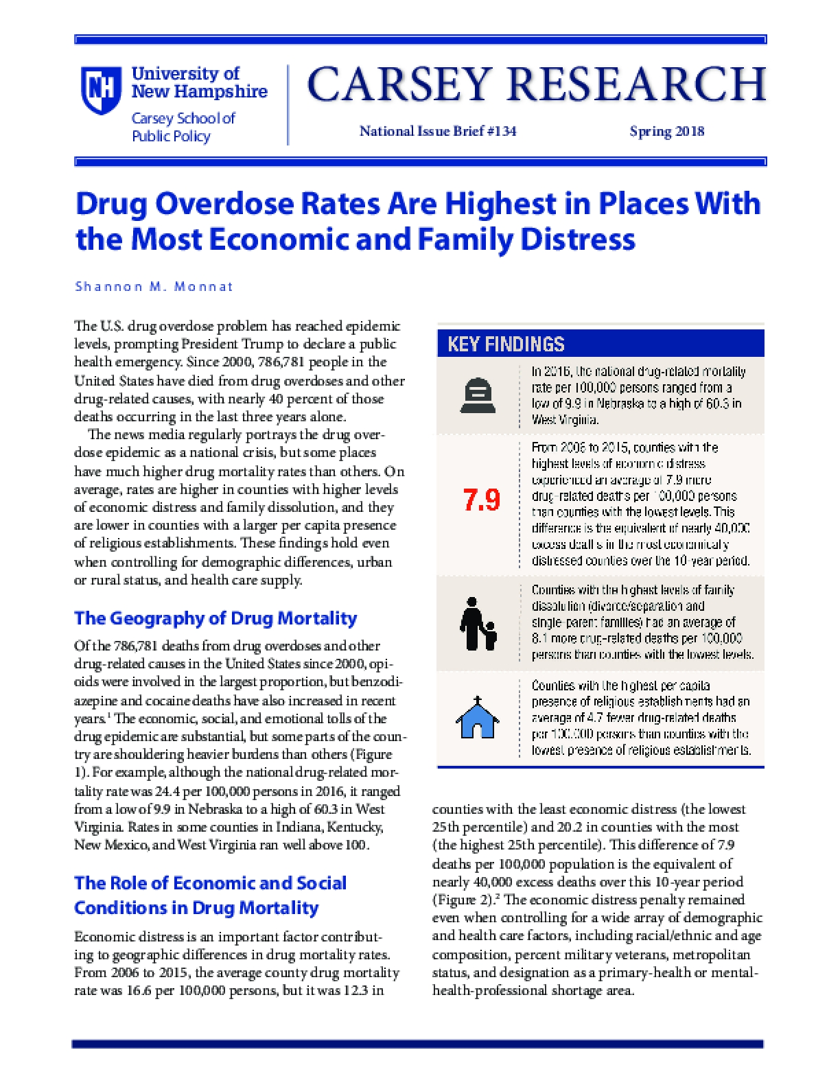 Drug Overdose Rates Are Highest in Places With the Most Economic and Family Distress