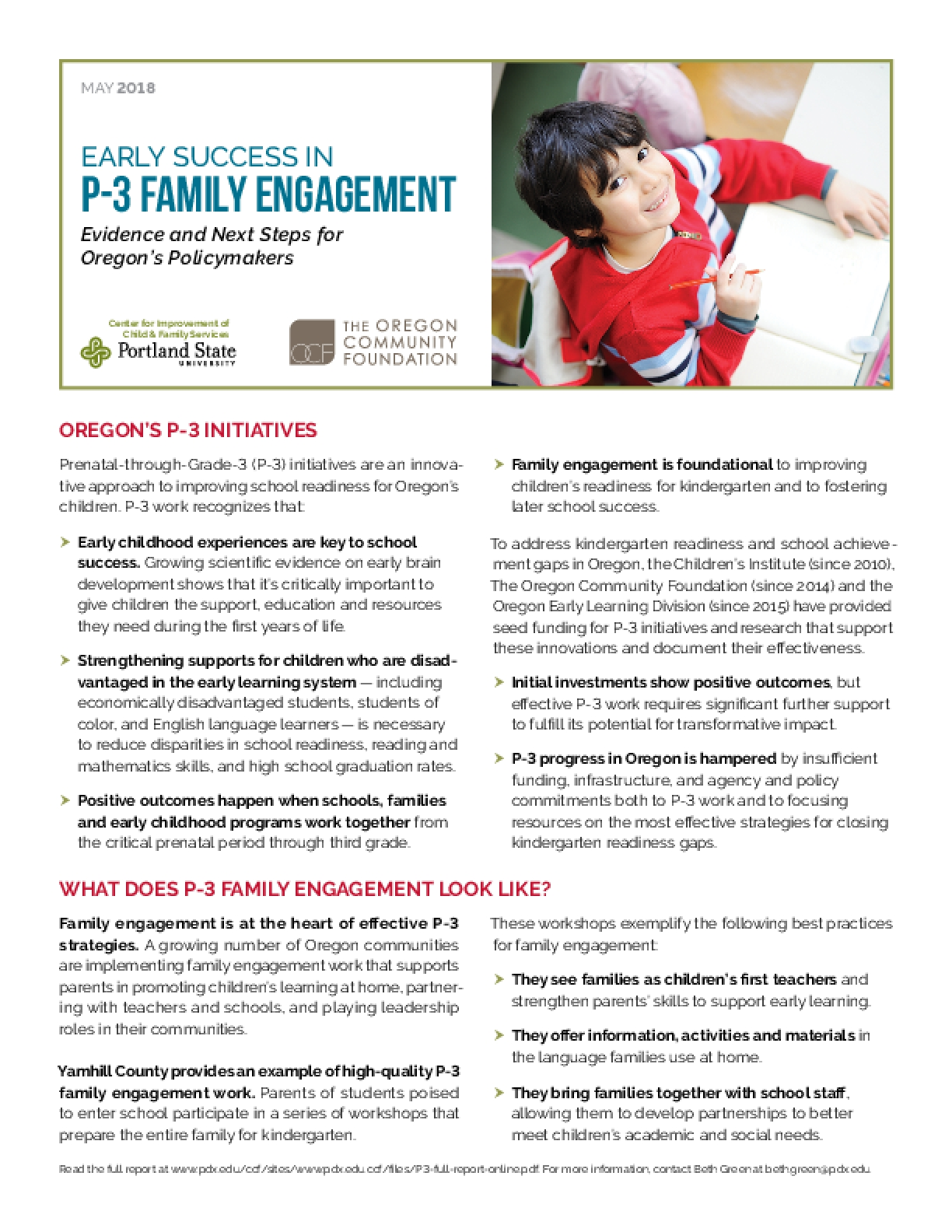 Early Success in P-3 Family Engagement: Evidence and Next Steps for Oregon's Policymakers
