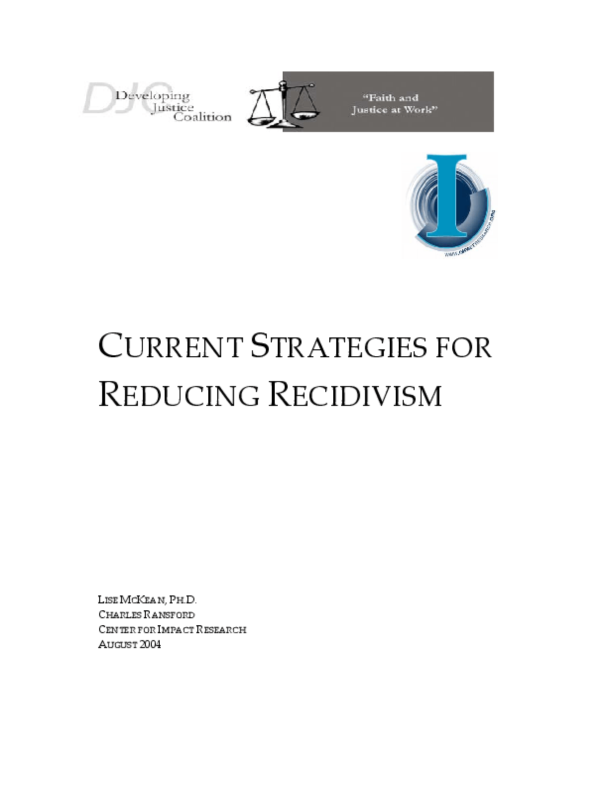 Current Strategies for Reducing Recidivism