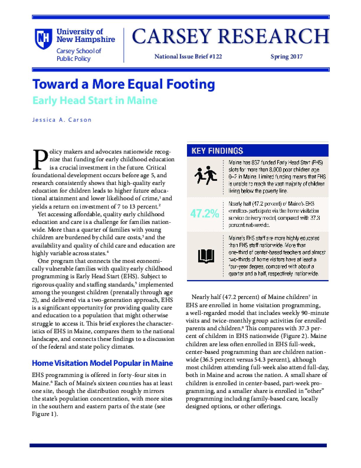Toward a More Equal Footing