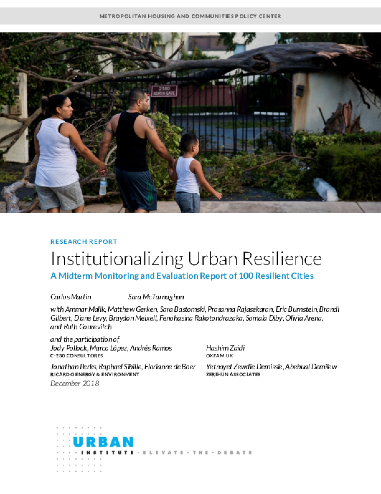Institutionalizing Urban Resilience: A Midterm Monitoring and Evaluation Report of 100 Resilient Cities