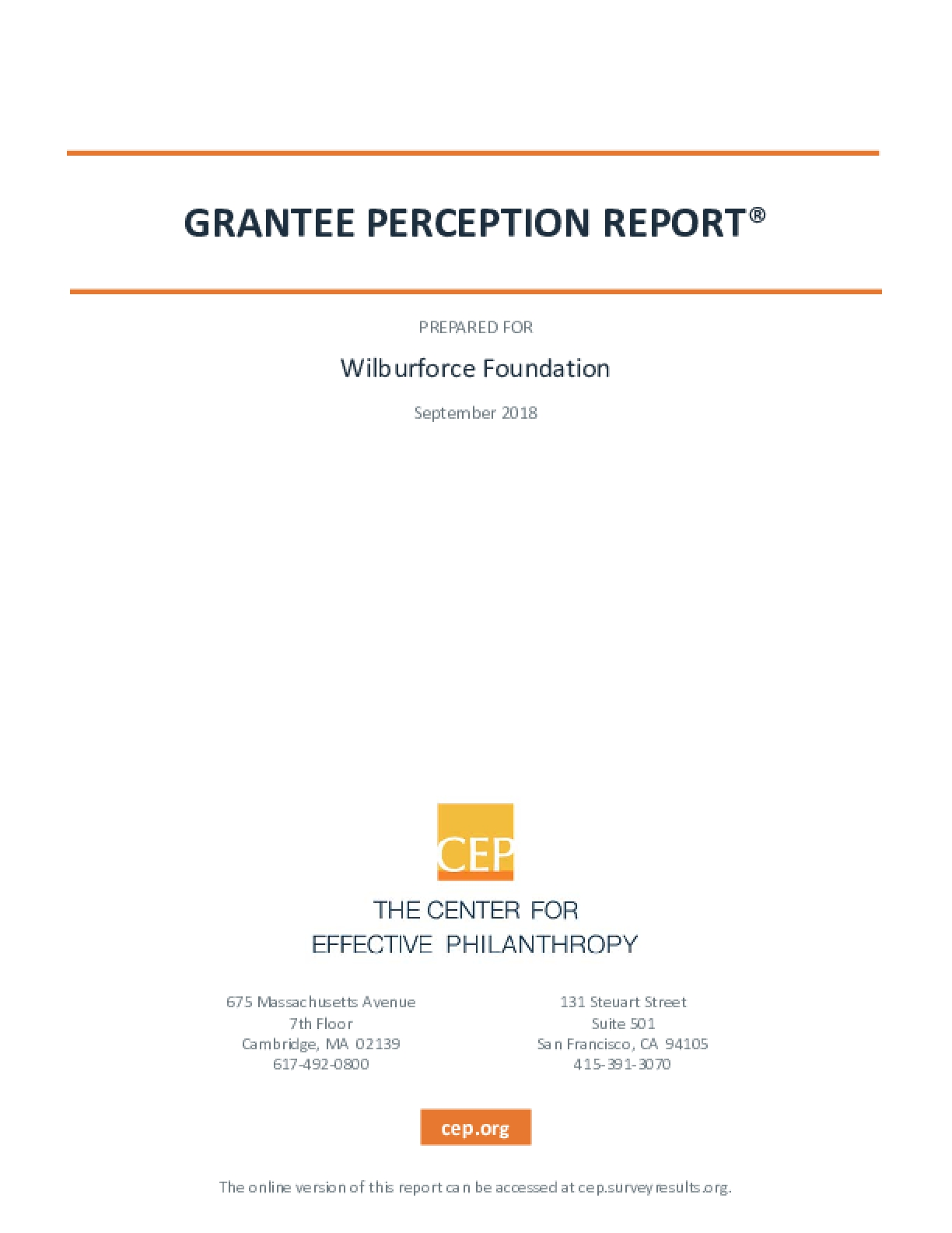 2018 Grantee Perception Report: Wilburforce Foundation