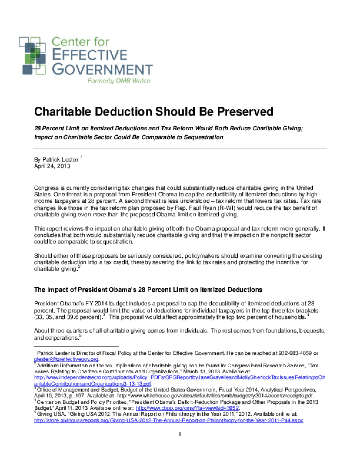 Charitable Deduction Should Be Preserved