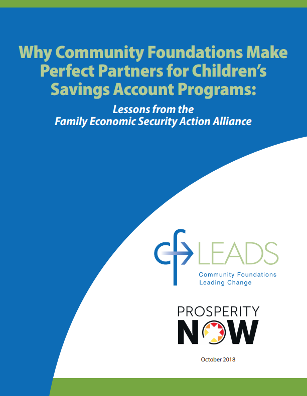 Why Community Foundations Make Perfect Partners for Children's Savings Accounts: Lessons from the  Family Economic Security Alliance
