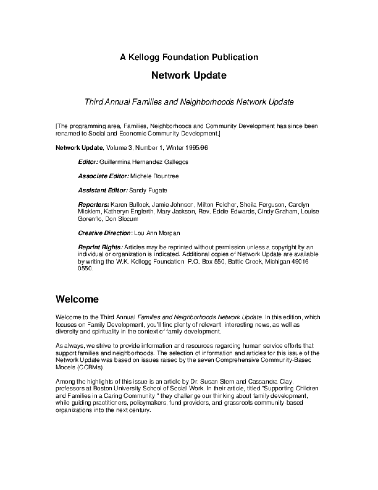 Third Annual Families and Neighborhoods Network Update