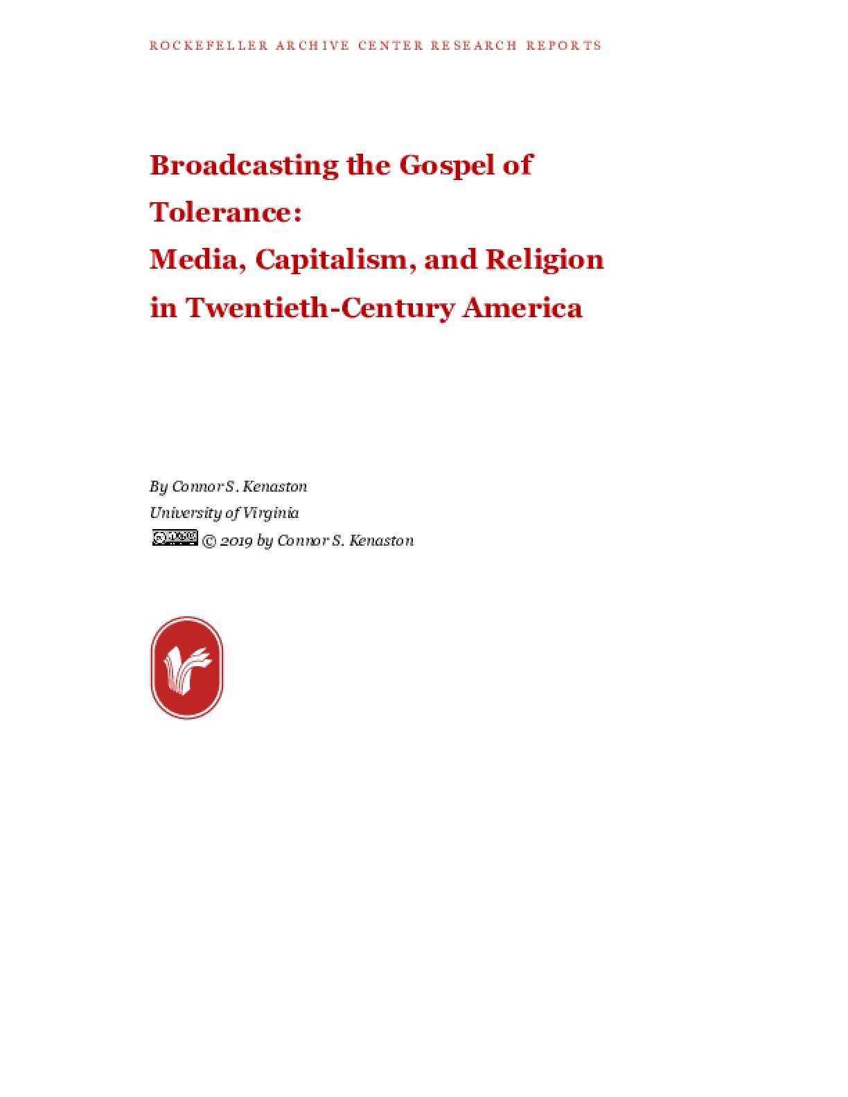 Broadcasting the Gospel of Tolerance: Media, Capitalism, and Religion in Twentieth-Century America