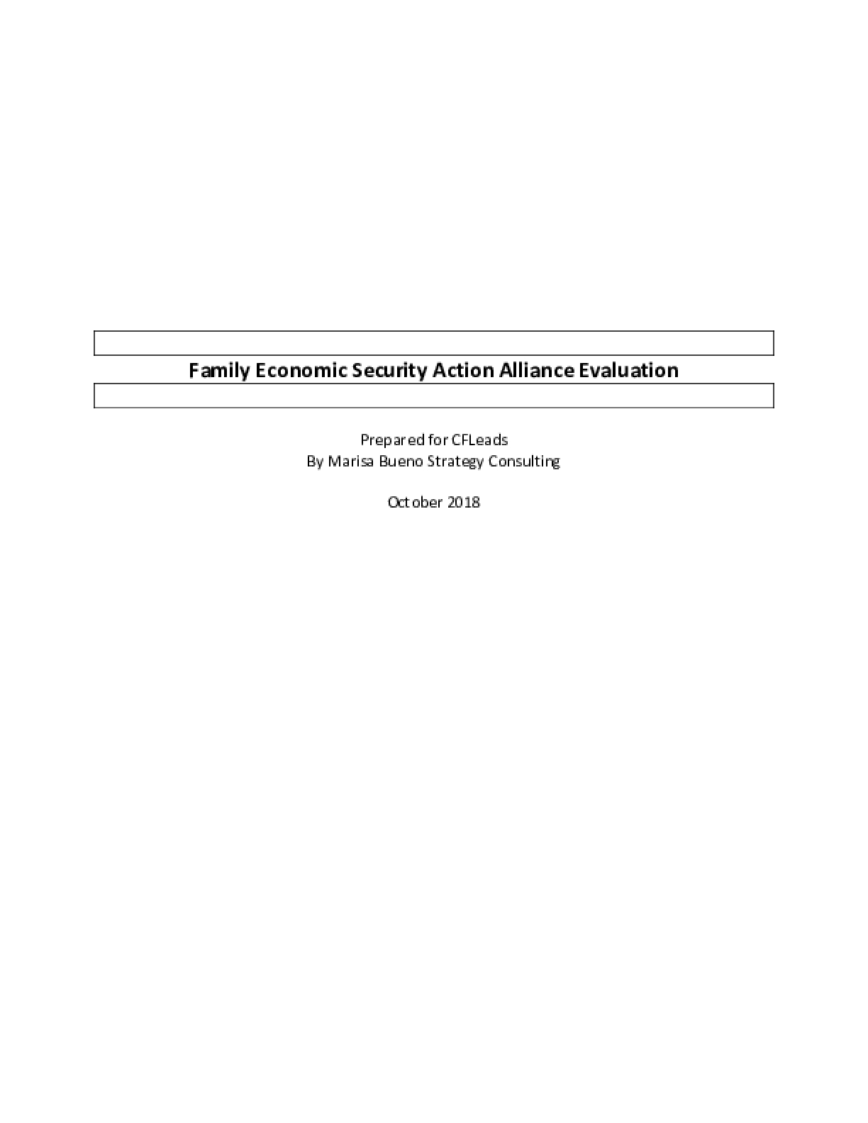 Family Economic Security Action Alliance Evaluation