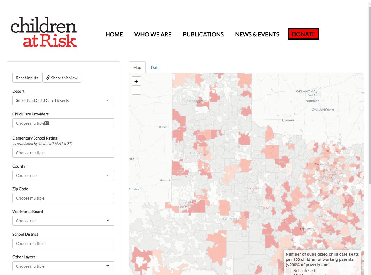 Texas Child Care Desert Map