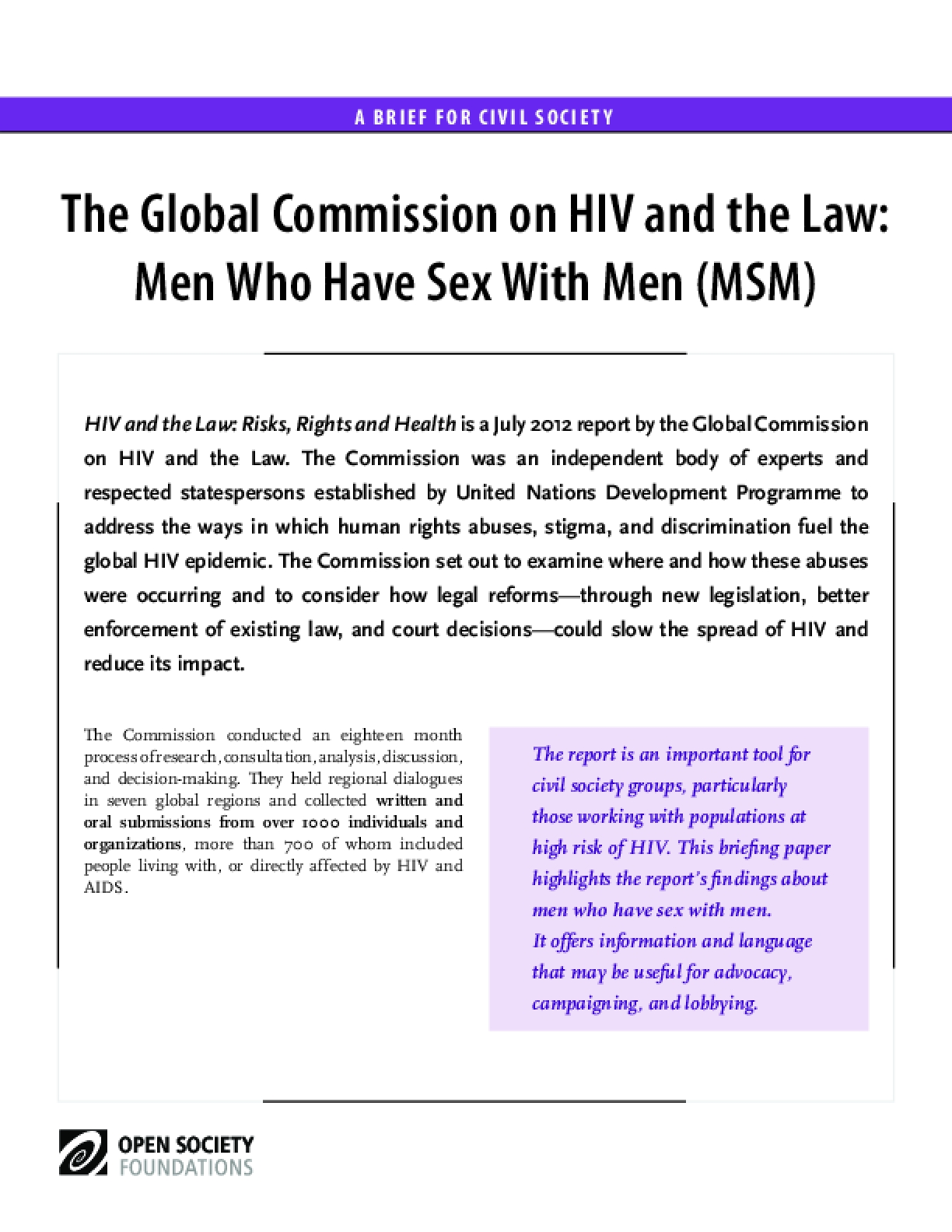 HIV and the Law: Men Who Have Sex with Men