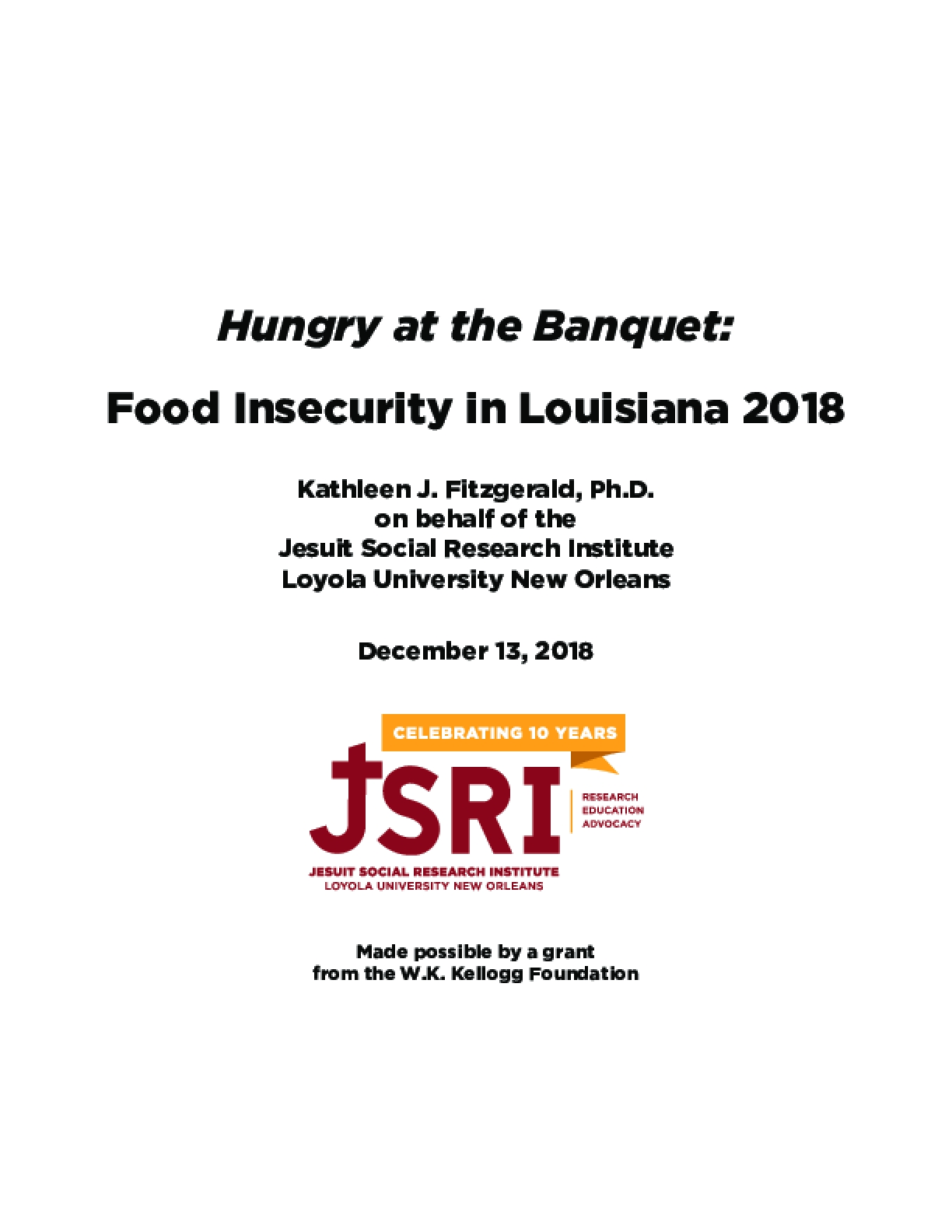 Hungry at the Banquet: Food Insecurity in Louisiana 2018