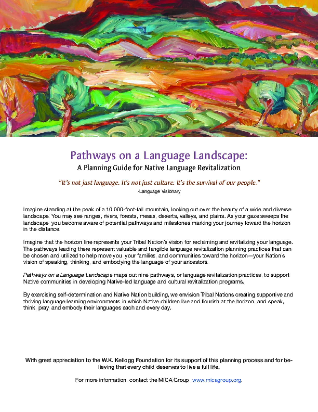 Pathways on a Language Landscape: A Planning Guide for Native Language Revitalization