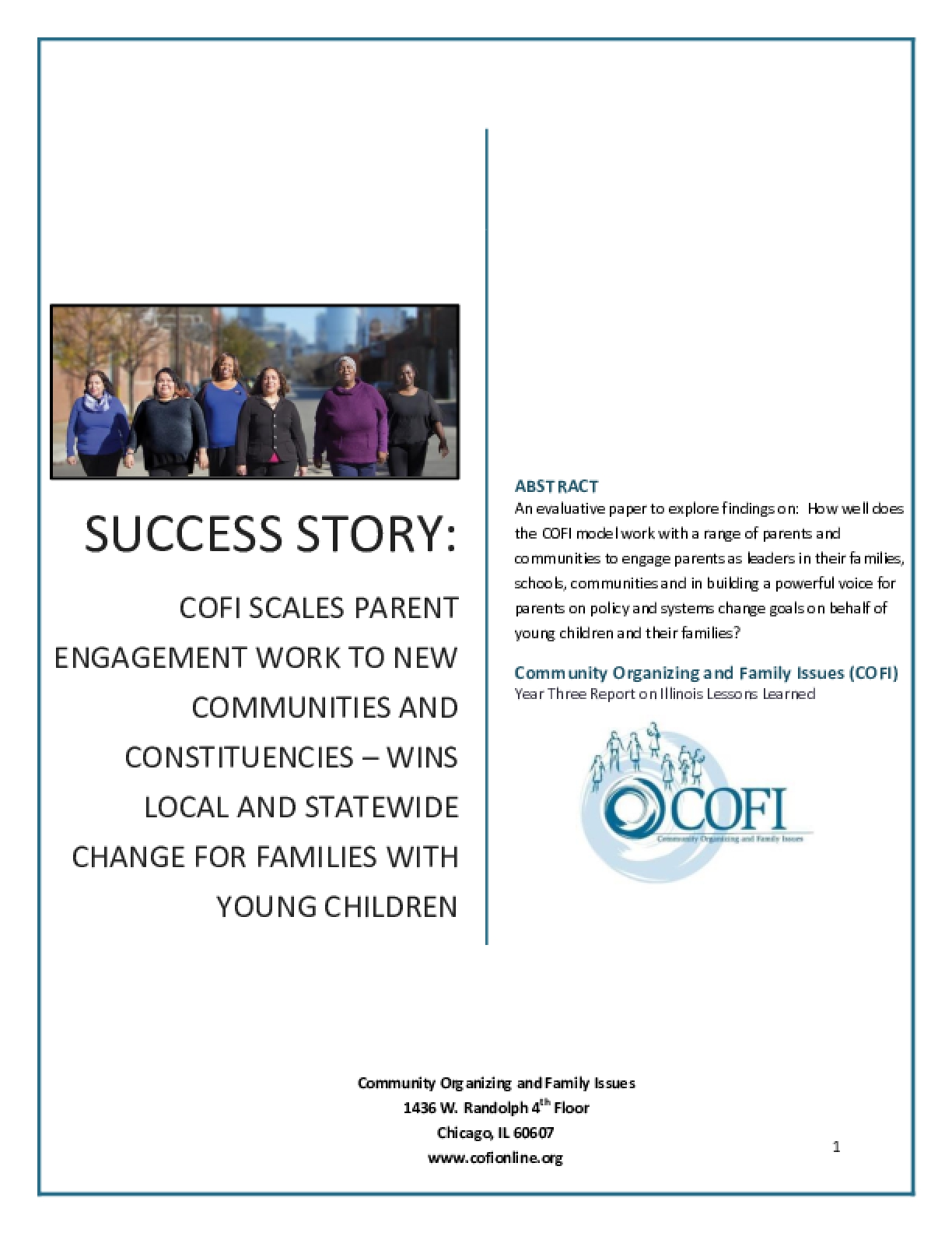 Success Story: COFI Scales Parent Engagement Work to New Communities and Constitutiencies - Wins Local and Statewide Change for Families and Young Children