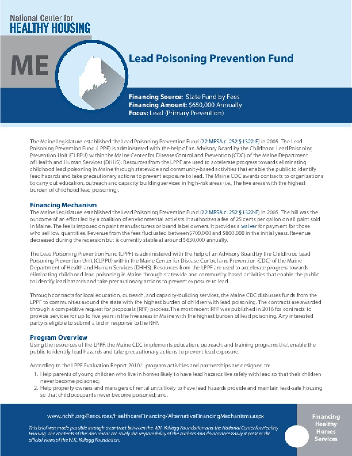 Lead Poisoning Prevention Fund