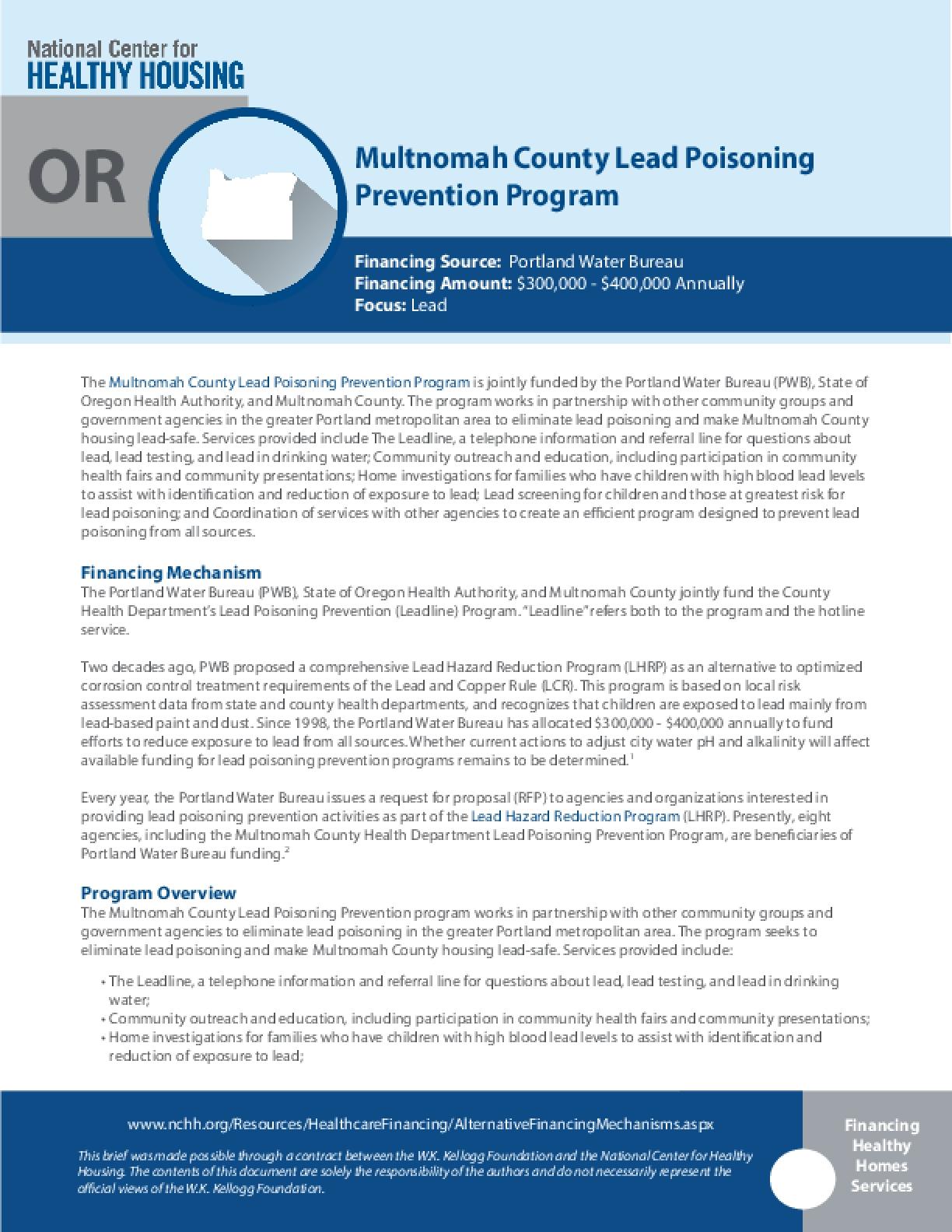 Multnomah County Lead Poisoning OR Prevention Program