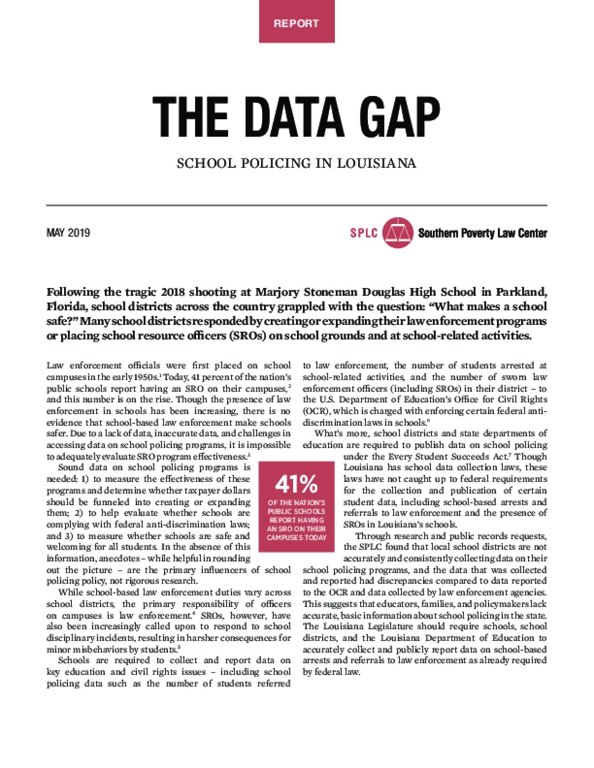 The Data Gap: School Policing In Louisiana